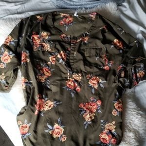 Live 4 Truth olive green floral sheer top
